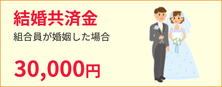 結婚共済金 組合員が婚姻した場合30,000円