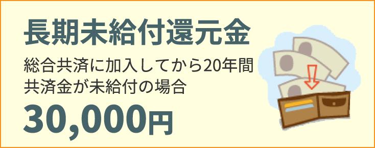 長期未給付還元金 総合共済に加入してから20年間共済金が未給付の場合30,000円